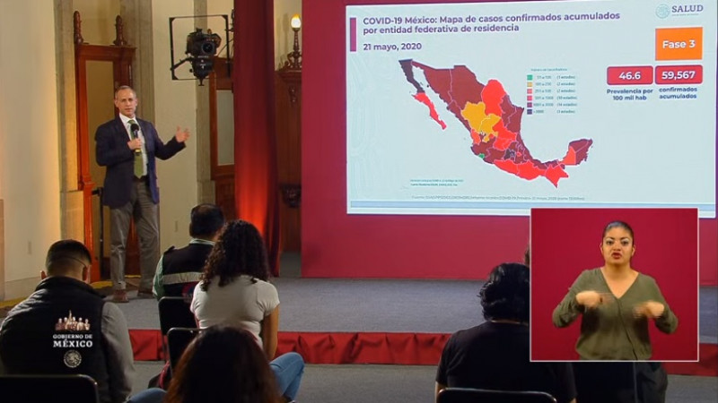 6 mil 510 muertes y 59 mil 567 casos acumulados por Covid-19 en México hasta este jueves 21 de mayo