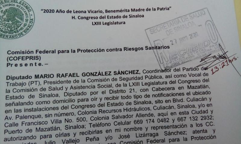 Congreso interpone denuncia contra Alcalde de Mazatlán ante COFEPRIS Y COEPRISS