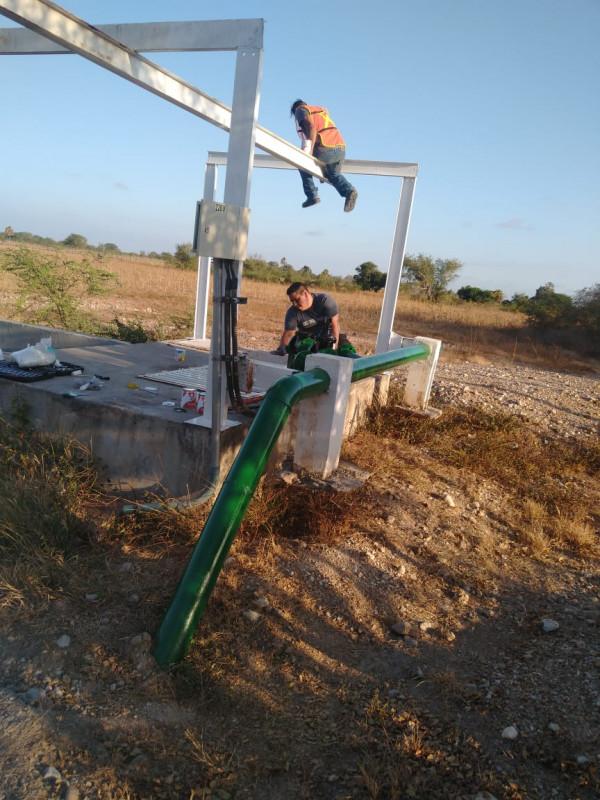 Avanzan trabajos en el cárcamo de rebombeo de laguna de oxidación en La Concha.
