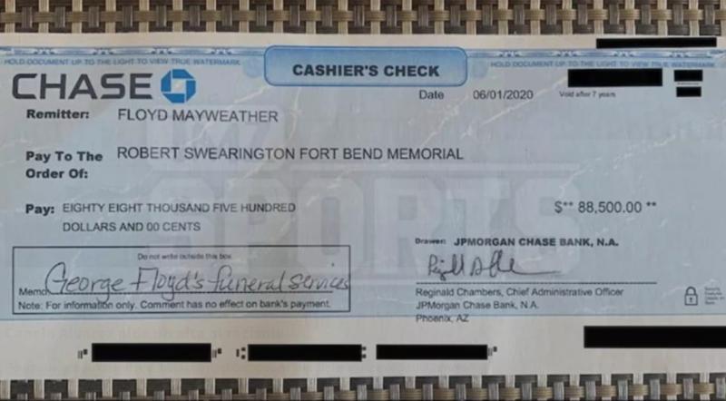 Mayweather dona 88 mil dólares para apoyar a la familia de George Floyd con gastos funerarios