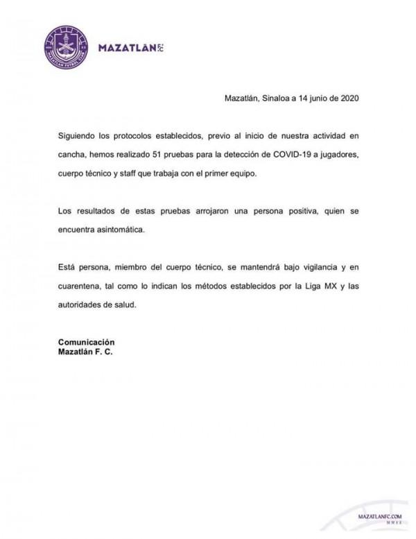 Un caso positivo de Covid-19 en Mazatlán FC