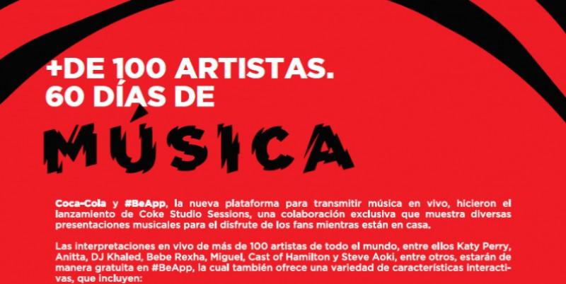 #BeAPP te conecta gratis y en vivo con la música que amas: 100 artistas en 60 días.