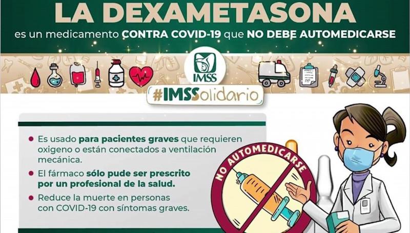 Llama el IMSS a no automedicarse con Dexametasona