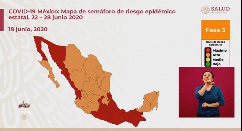 Sonora y Sinaloa continúan pintados de rojo en el Semáforo de Riesgo para la próxima semana