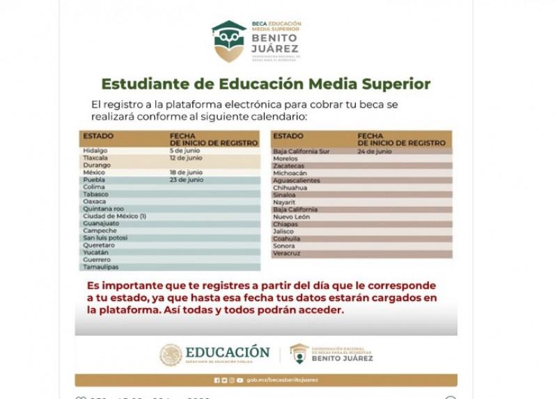 Este miércoles inicia el registro para la Beca Benito Juárez de preparatoria en Sonora y Sinaloa