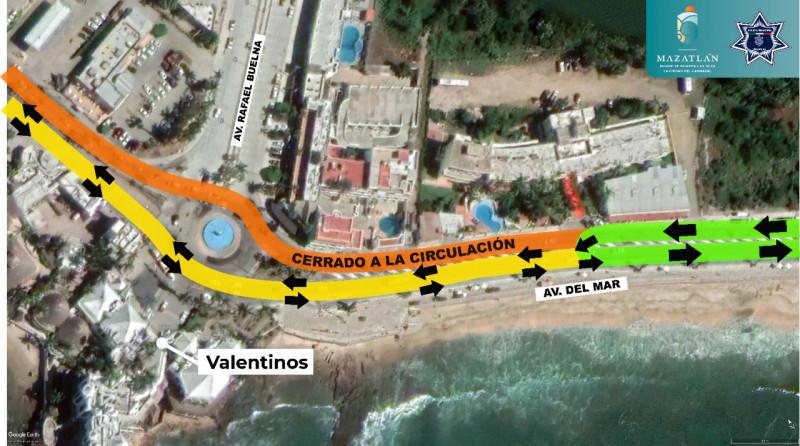 Cambiará circulación vial en un tramo de Av Del Mar por obras