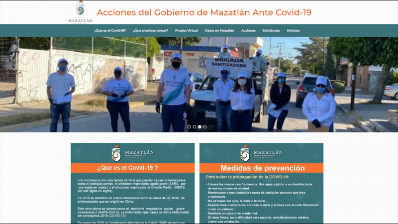 Mazatlán ya tiene micrositio Covid 19