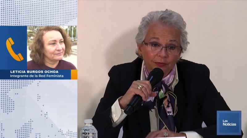 Activistas envían mensaje a Olga Sánchez Cordero