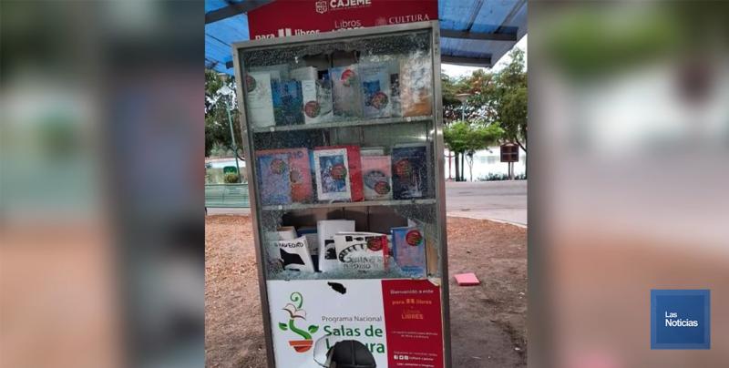 Vandalizan Kiosco de libros de la laguna del Nainari.