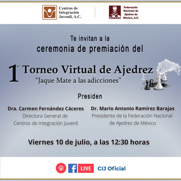 Realiza CIJ premiación virtual de torneo nacional de Ajedrez