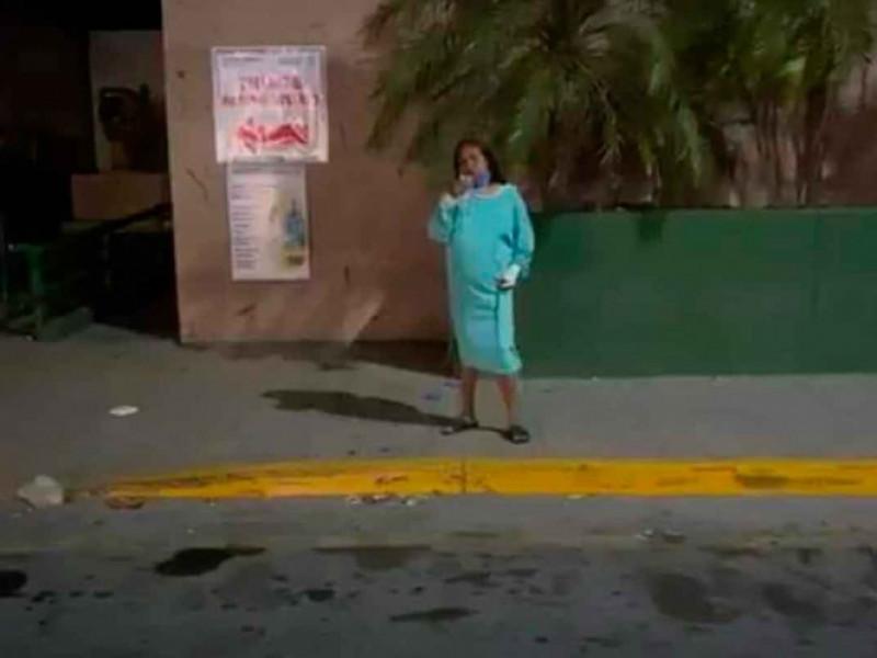 Señora escapa de área Covid de IMSS durante la madrugada