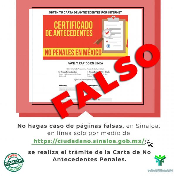 Alertan sobre página fraudulenta de Carta de No Antecedentes Penales