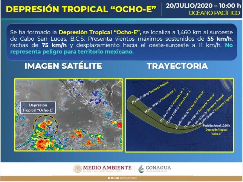 Depresión tropical 8-E en el pacífico