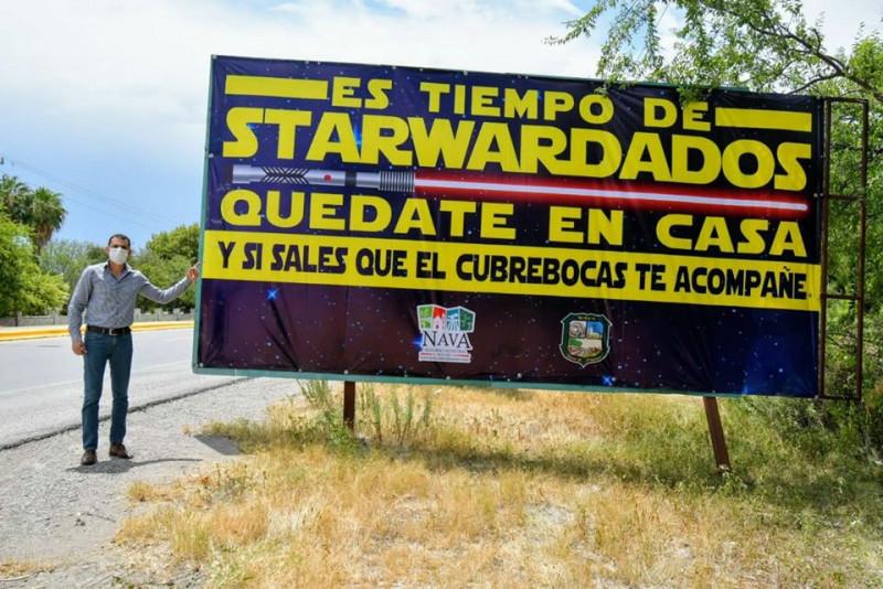 """Alcalde de Coahuila invita a su población a """"StarWardados"""" para evitar contagios de Covid-19"""