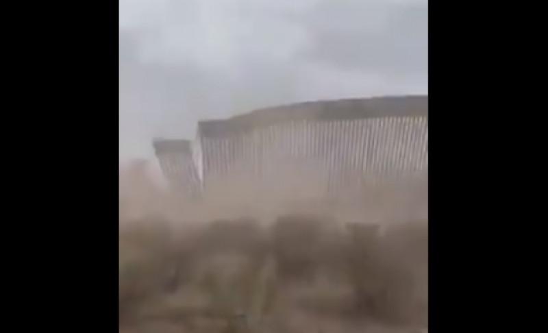 """""""Hanna"""" derriba parte del muro fronterizo entre Texas y Tamaulipas"""