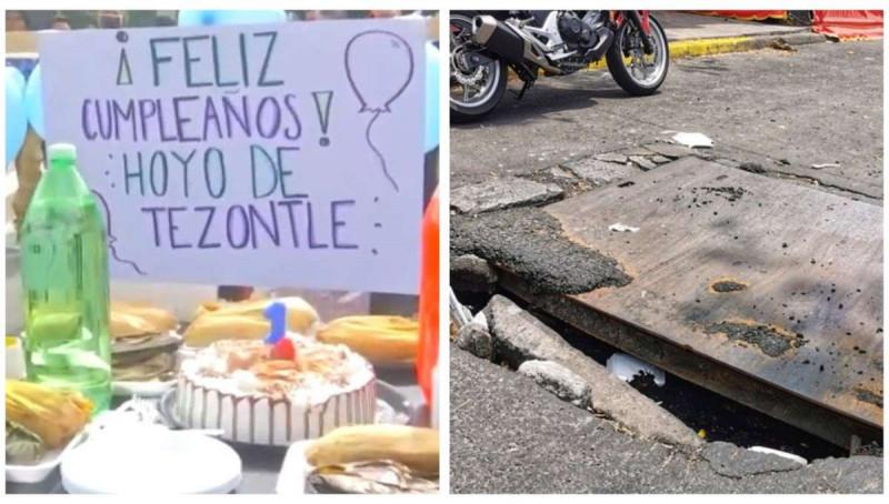 """""""Feliz cumpleaños hoyo de Tezontle"""": vecinos denuncian un año sin tener respuesta de las autoridades."""