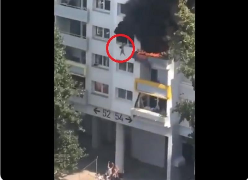 Video: Niños saltan de 4to piso de edificio en llamas para salvar su vida