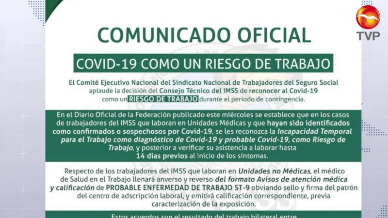 Reconoce IMSS a COVID-19 como riesgo de trabajo entre sus empleados