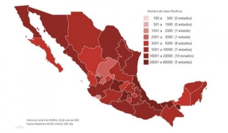Ocupación hospitalaria en México para Covid-19: 47% en camas generales y 38% camas con respirador