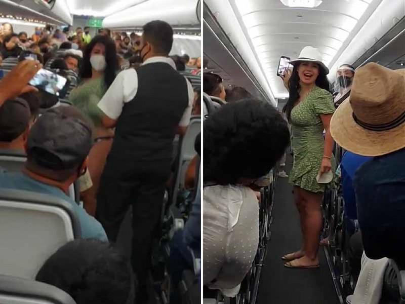 Video: mujer ebria hace escándalo en el avión y le apodan #LadyCovid