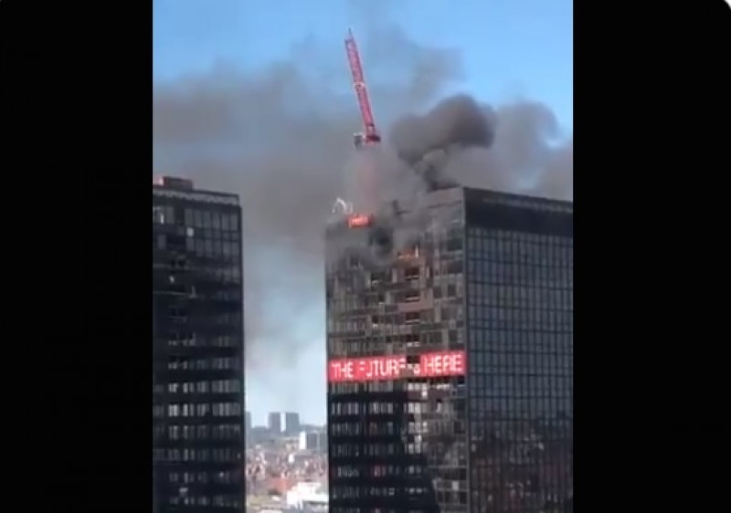 Reportan incendio en World Trade Center de Bélgica