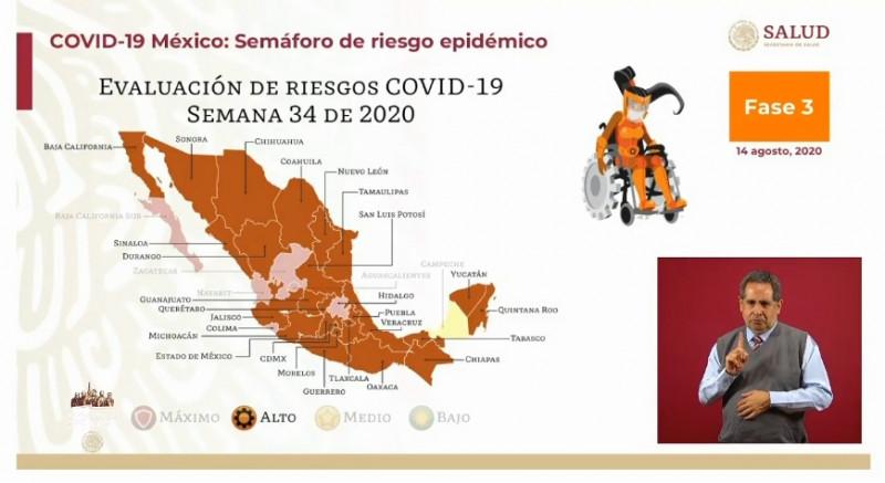 Sonora y Sinaloa continúan en naranja en el semáforo nacional de riesgo Covid-19