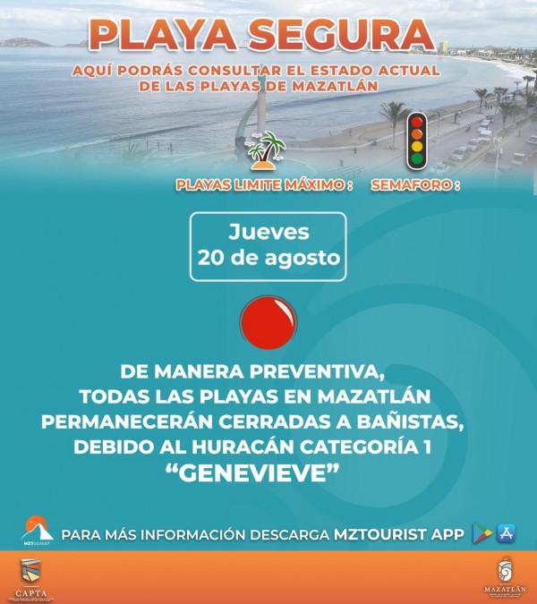 Permanecen playas cerradas a bañistas en Mazatlán