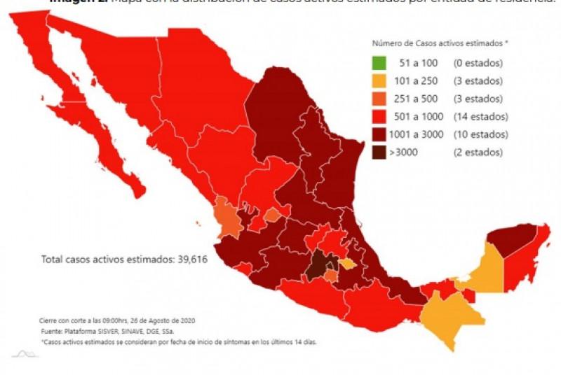 Sonora y Sinaloa son los estados número 19 y 22 en casos activos de Covid-19 a nivel nacional