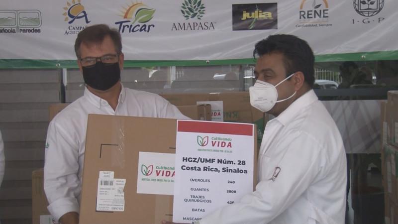 Entregan empresas hortícolas mas de 17 mil insumos de protección para personal médico