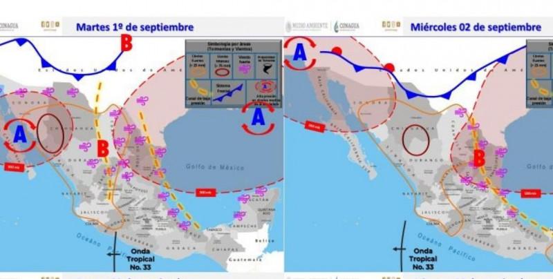 Se pronostican lluvias de intensas a torrenciales en Sinaloa y Sonora entre lunes y miércoles