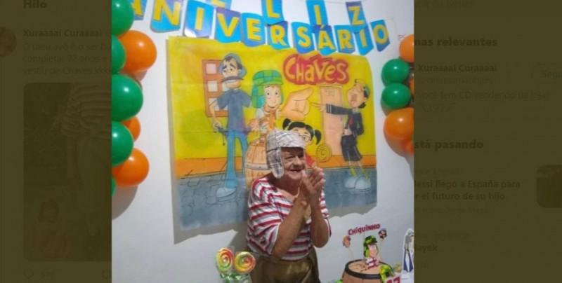 """A sus 92 años, le cumplen su sueño de tener una fiesta de """"El Chavo del 8"""""""