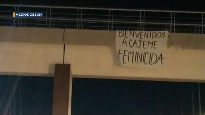 Bienvenido a Cajeme Feminicida, colocan manta