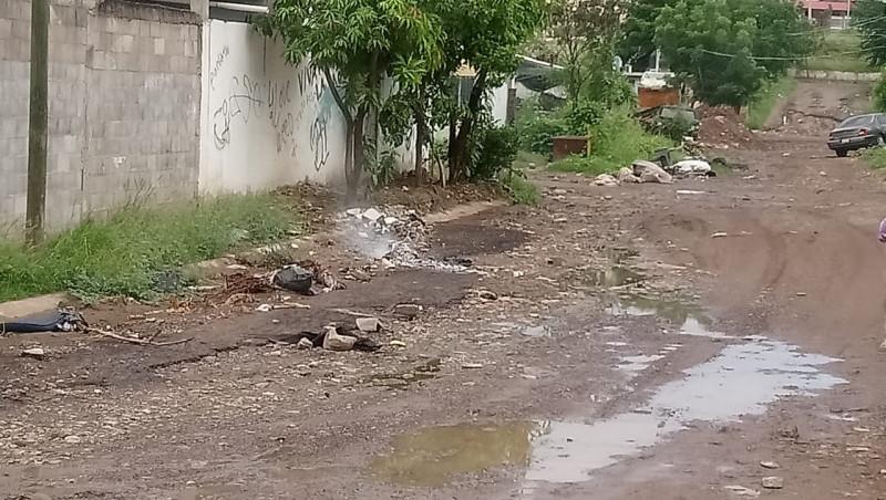 Basura y calle en mal estado en Rincón del parque