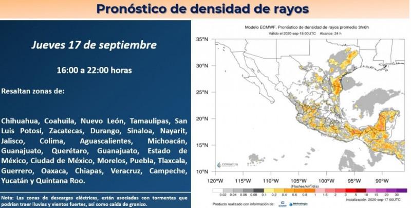 CONAGUA pronostica descargas eléctricas y tormentas para Sinaloa esta tarde-noche