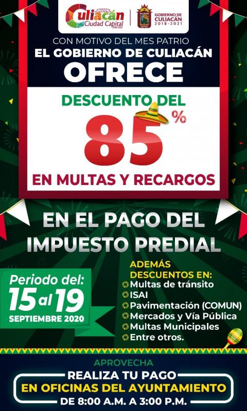 Este sábado terminan descuentos en el predial en Culiacán