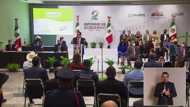 Presenta segundo informe de gobierno el presidente Sergio Pablo Mariscal.