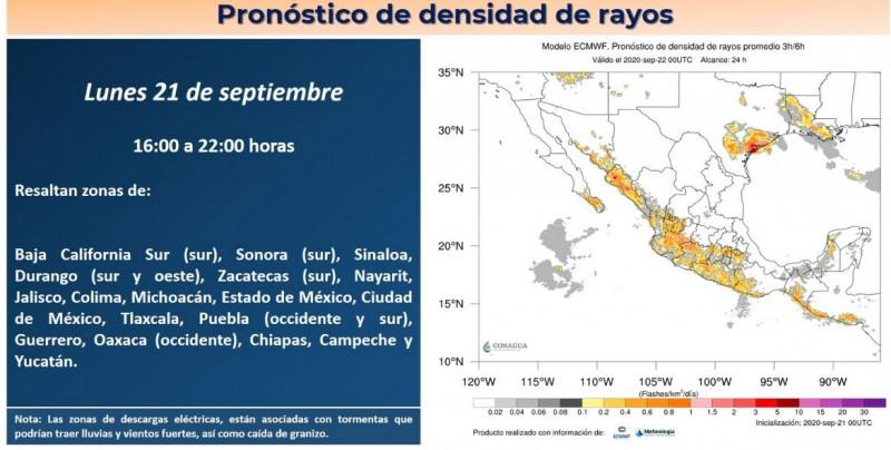 CONAGUA pronostica descargas eléctricas y lluvias para todo Sinaloa y el sur de Sonora