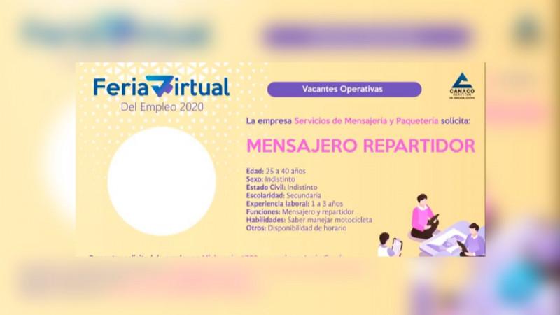 Alta demanda de solicitantes de trabajo deja Feria Virtual del Empleo de Canaco