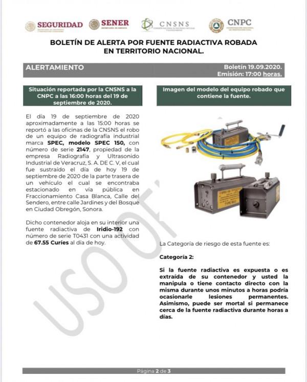 En Sinaloa no hay rastro del equipo radiactivo robado en Sonora