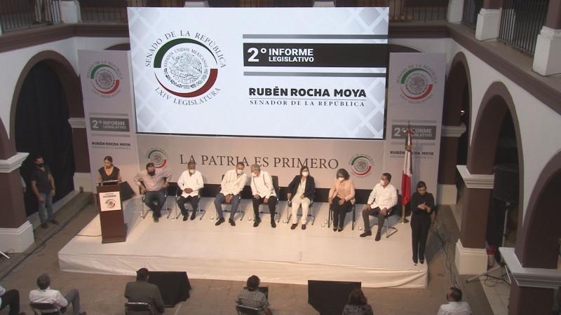 Rocha Moya rinde su segundo informe de labores como Senador de la República