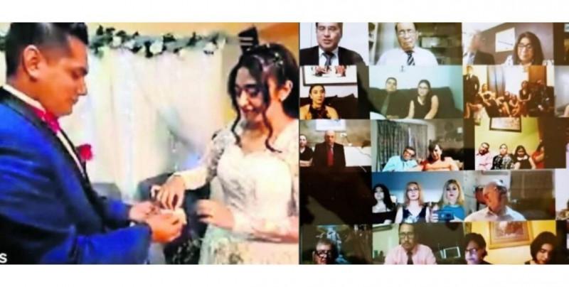 Mexicanos celebran su boda virtual con 100 invitados en videollamada