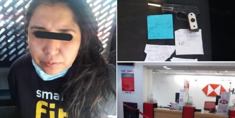Paola intentó asaltar un HSBC con una nota y una pistola de juguete