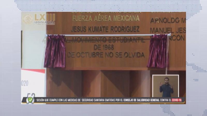 El 2 de Octubre no se Olvida, queda inscrito en el muro de honor del Congreso de Sinaloa