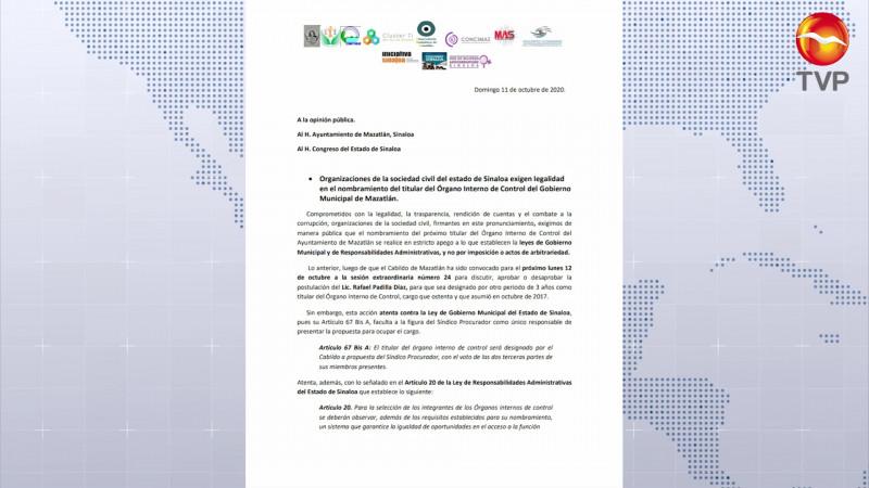 Exigen legalidad en designación del titular del OIC en Mazatlán