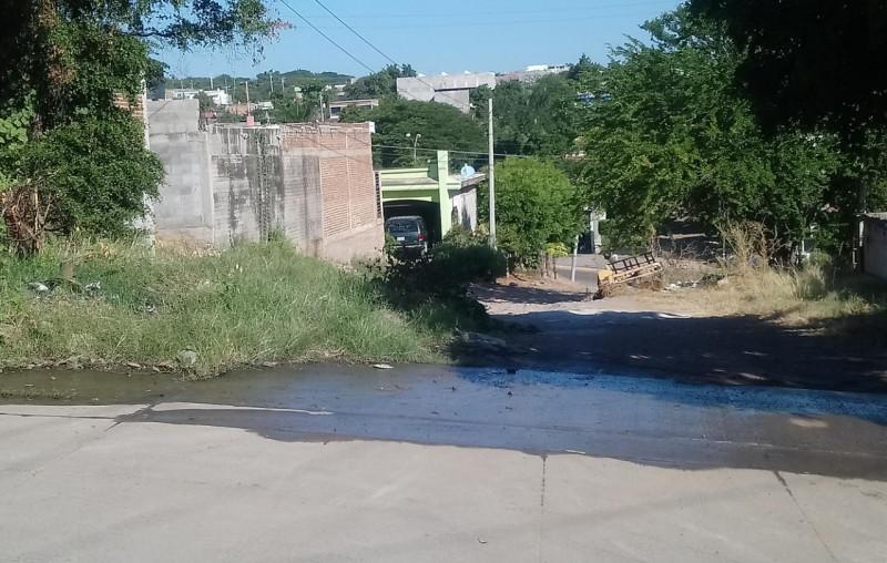 Fuga de agua en la colonia CNOP