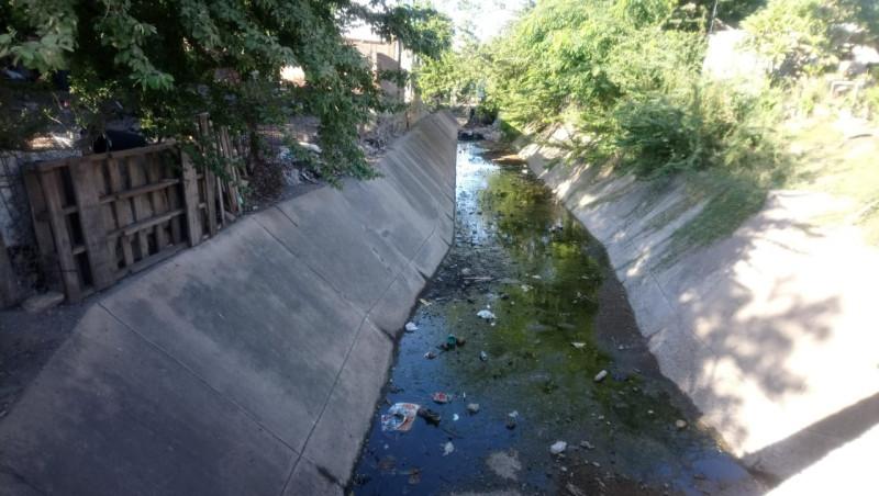 Arroyo con agua estancada en la Buenos Aires