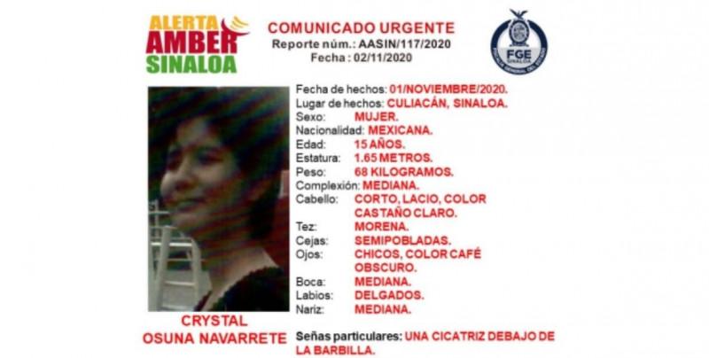 Ayúdanos a encontrar a Crystal Osuna: Alerta Amber Sinaloa
