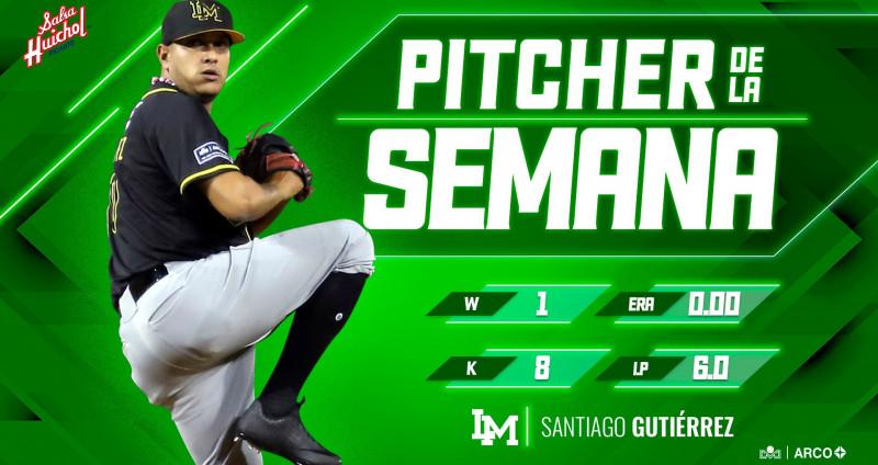 Santiago Gutierrez reconocido como pitcher de la semana