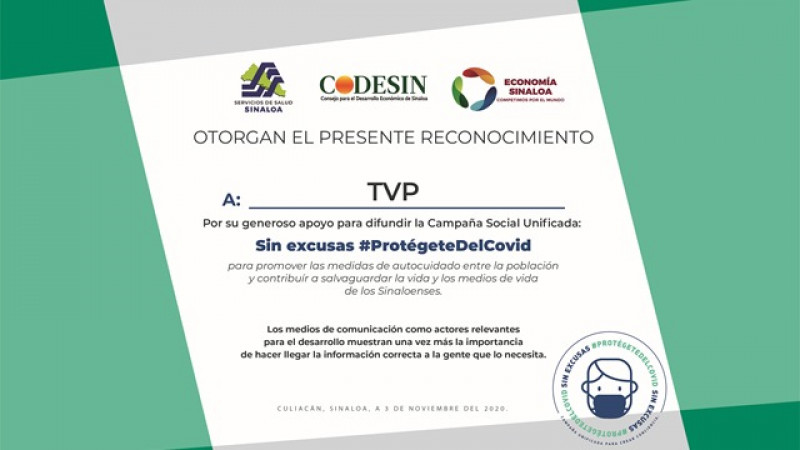 Entrega CODESIN reconocimiento a TVP por difusión en medidas preventivas contra el COVID