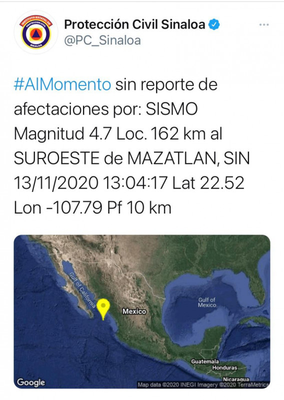 Se registra tercer sismo de la semana en Mazatlán